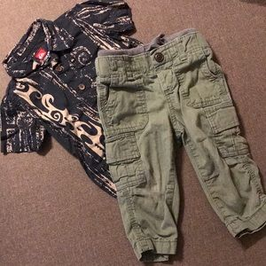 Quicksilver shirt & Baby Gap Cargo Pants 12 mo